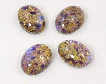 Vintage Czech Glass Topaz Opal Cabochons 18x13mm - 2