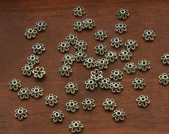 Pewter Antiqued Silver Plated 6mm Flower Bead Caps  - 50