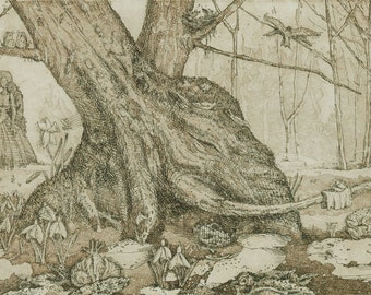Original Aquatint Etching - Early Spring