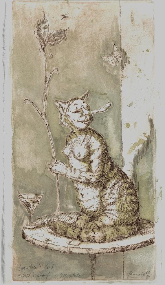 Original Aquatint Etching - Lautrec's Cat - Artist's Proof - 5th State
