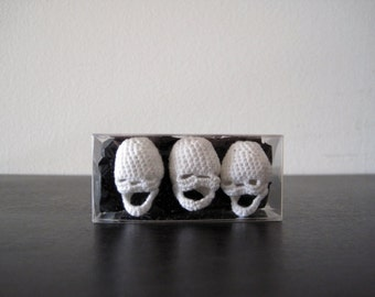 Three Crocheted Skulls - boxed set