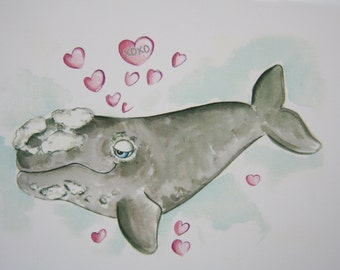 Right Whale Card - Be My Valentine Day Card