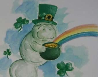 Manatee Happy St. Patrick's Day Card with glitter on front