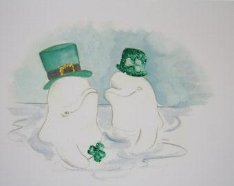 Belugas Happy St. Patrick's Day Greeting Card - Happy St Patrick's Day - Belugas w/glitter