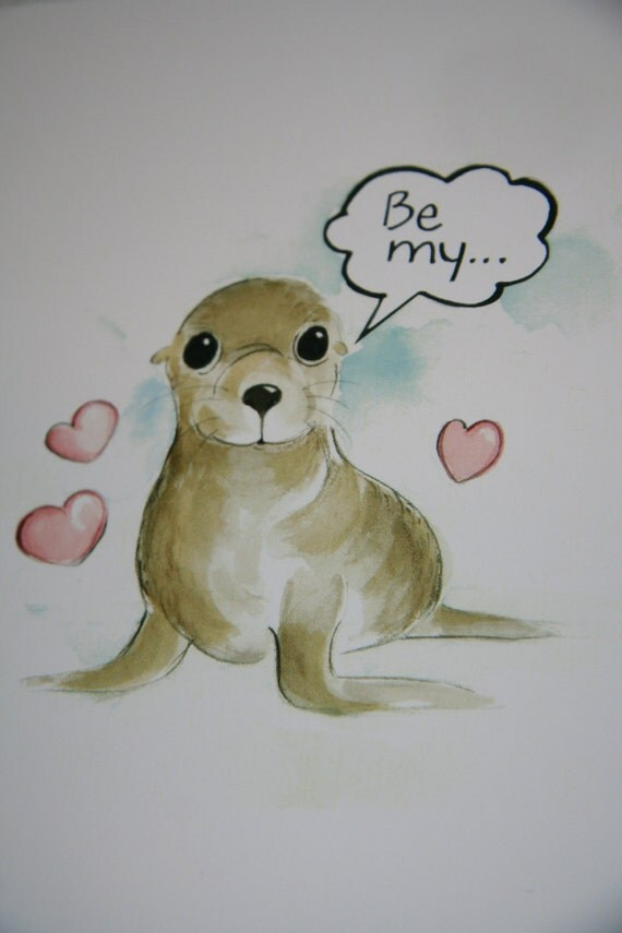 Baby Sea Lion Valentine Card - Be My Valentine