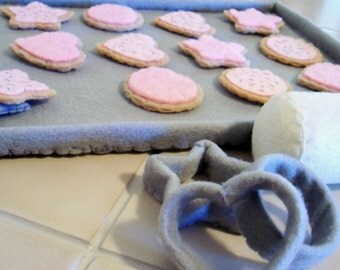Felt Play Food( Pink Cookie Baking Set For Your Little Princess) Made To Order