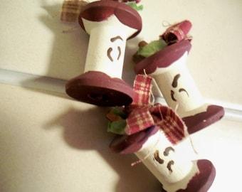 Miniature Apple Wooden Spools