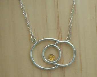 Silver Wire Rosette Necklace w/Citrine