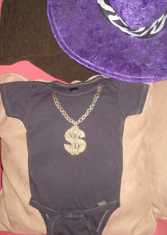 Baby Gangster Dollar Sign Necklace Onesie