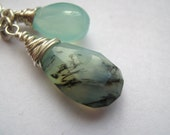 SALE Wire Wrapped Gemstone in Sterling Silver Peruvian Blue Opal, Blue Chalcedony and  Rock Crystal Briolette Pendant