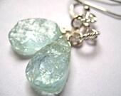 STOREWIDE SALE Aquamarine Hammered Earrings, Wire Wrapped Gemstone Earrings