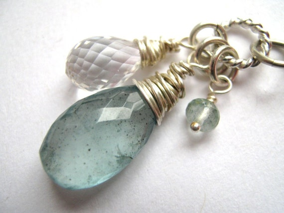 SAVE 15% Wire Wrapped Gemstone in Sterling Silver Moss Aquamarine Briolette and Crystal Pendant