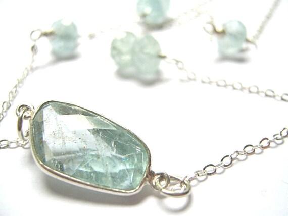 SALE 10% OFF Aquamarine March Birthstone Necklace in Sterling Silver Gemstone Bezel Set Stone