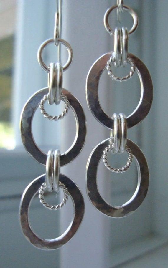 SALE B1G1 Half Off Sterling Silver Oval Hammered Hoop Dangle Earrings