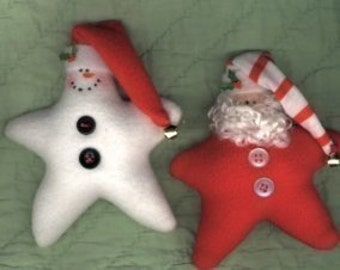 Star Snowman and Star Santa Christmas Ornament  Janet's Creations Pattern