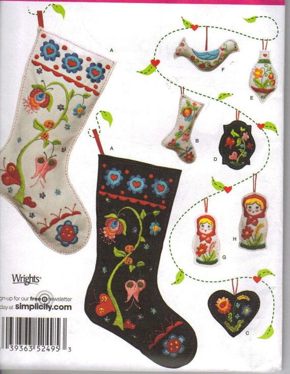 Embroidered Felt Ornaments And Christmas Stockings Pattern