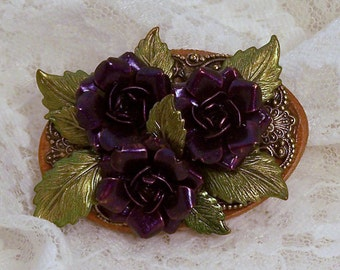Hand Painted Purple Rose Brooch, Flower Jewelry, Purple Roses, Flower Collage Pin, Brass Charms, Gardener Gift, Statement Art, Mothers Day