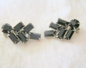 Vintage WEISS Black and Silver Clip  Earrings