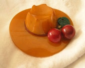 Reserved for Casey  Antique Bakelite Butterscotch Hat With Cherries Brooch   Book Piece   Make Me an Offer