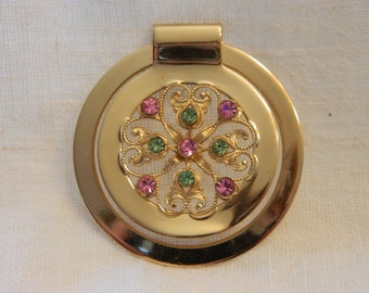 Reduced Vintage Napier Gold Tone Pink and Green Rhinestone Scarf Clip