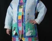 Ladies Boutique Jacket, Hand Quilted, Hand Applique, One of a kind, The World, size 12 - 14