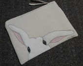 Hand Painted GOTS-Organic Cotton Bunny Clutch,  Peek-a-Boo Bunny, 6 x 8 inches