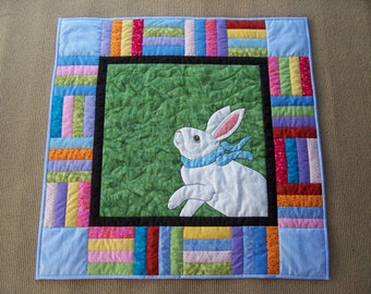 Custom Applique Art Quilt -New Blue Ribbon- Hand quilted, Hand Applique