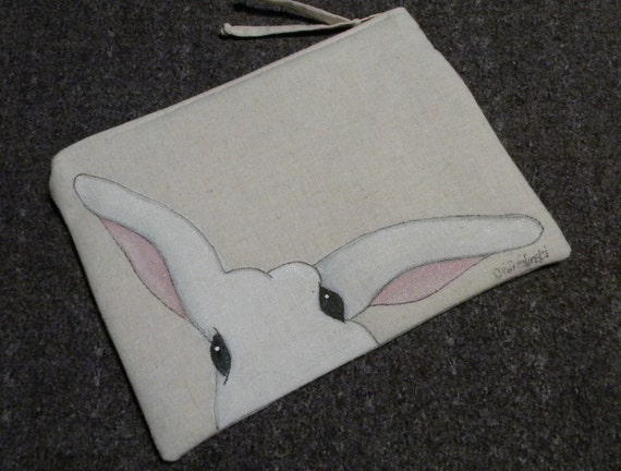 Hand Painted GOTS-Organic Cotton Bunny Clutch with Zipper Closure,  Peek-a-Boo Bunny, Fully Lined, 5.5 x 8 inches