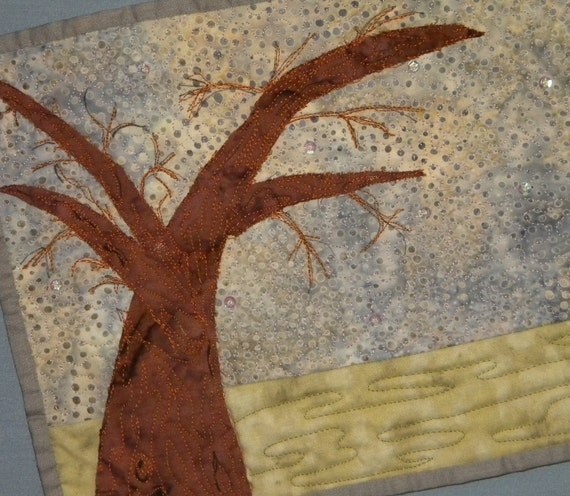 Applique Mini Quilt, Spirit Tree, 8 x 10.5 inched, Gold and Grey,