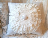White Blossom - Antique White Damask Linen Pillow with Antique Triple Layered Doily