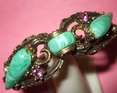 20 OFF-Retro Baroque Green Plastic and Purple Rhinestone Bracelet