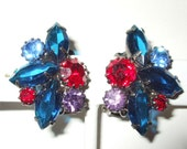 Vintage Royal, Red, Lilac and Blue Beautiful Rhinestone Earrings