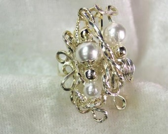 Sterling Silver and Faux Pearl Glamour OOAK Dinner Ring sz 7