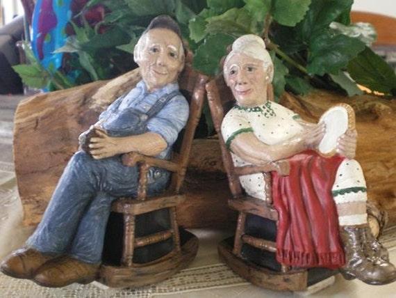 Grandma and grandpa in rocking chairs figurines