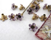 Vintage Bead Caps Flower Enamel Metal Lilac Purple 5mm vfd0078.2 (18)