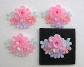 Vintage Flower Cabochon Pink Plastic Bouquet Blue Painted Japan 20x15mm pcb0126 (4)