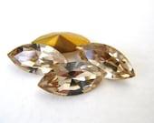 Vintage Swarovski Crystal Rhinestone Ceylon Topaz Navette Jewel 15x7mm swa0115 (4)