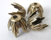 Antiqued Brass Large Leaf Bead Cap Brass Ox Vintage Style 14mm bcp0009 (4)