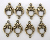 Antiqued Brass Ox Round Fleur De Lis Connector Link 15mm cnn0007 (8)