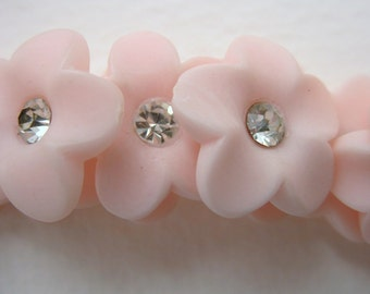 Vintage Rhinestone Buttons, Pink Flowers With Matte Finish, Shank, Austria 1950s, but0083 (2)