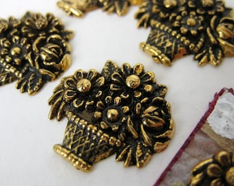 Vintage Plastic Cabochon, Flower Basket, Antiqued Gold, Metallic, Japan, 17x16mm pcb0130 (6)