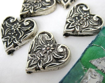Vintage Plastic Cabochon. Flower Hearts, Antiqued Silver, Metallic, Japan, 15mm pcb0129 (6)