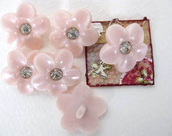 Vintage Rhinestone Buttons, Pink Flowers With Pearl Finish, Shank, Austria 1950s, but0082 (6)