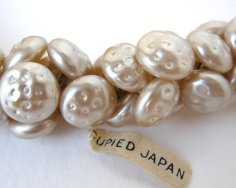 Vintage Glass Pearl Buttons Beads. Antique Ivory Dimpled, Embedded Wire, Japan 10mm but0117 (6)