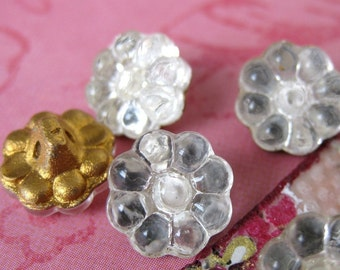 Vintage Flower Buttons. Glass Mirrored Foiled, Shanks, Czech 1940s but0098 (6)