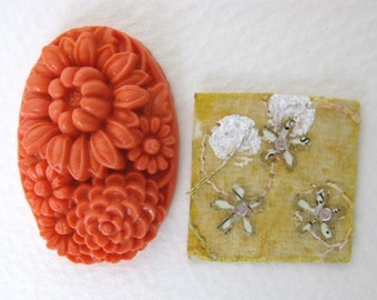 Vintage Flower Cabochon Coral Orange Glass Carved Style Japan 35x23mm gcb0212 (1)