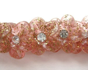Vintage Rhinestone Buttons, Pink Flowers With Tinsel Glitter, Shank, Austria 1950s, but0079 (6)