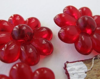 Vintage Flower Buttons Ruby Red Plastic Shank West Germany 23mm but0068 (5)