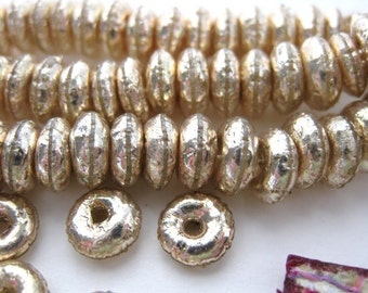 Vintage Sequin Beads. French Celluloid Puffy Gold Antique Rondelle Donuts 7mm vcb0001 (50)