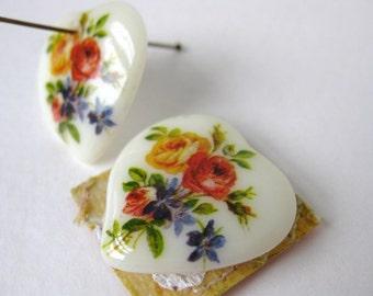 Vintage Glass Flower Bead Pendant. Rose Heart Decal Focal, Japan, 25mm vgb0262 (2)